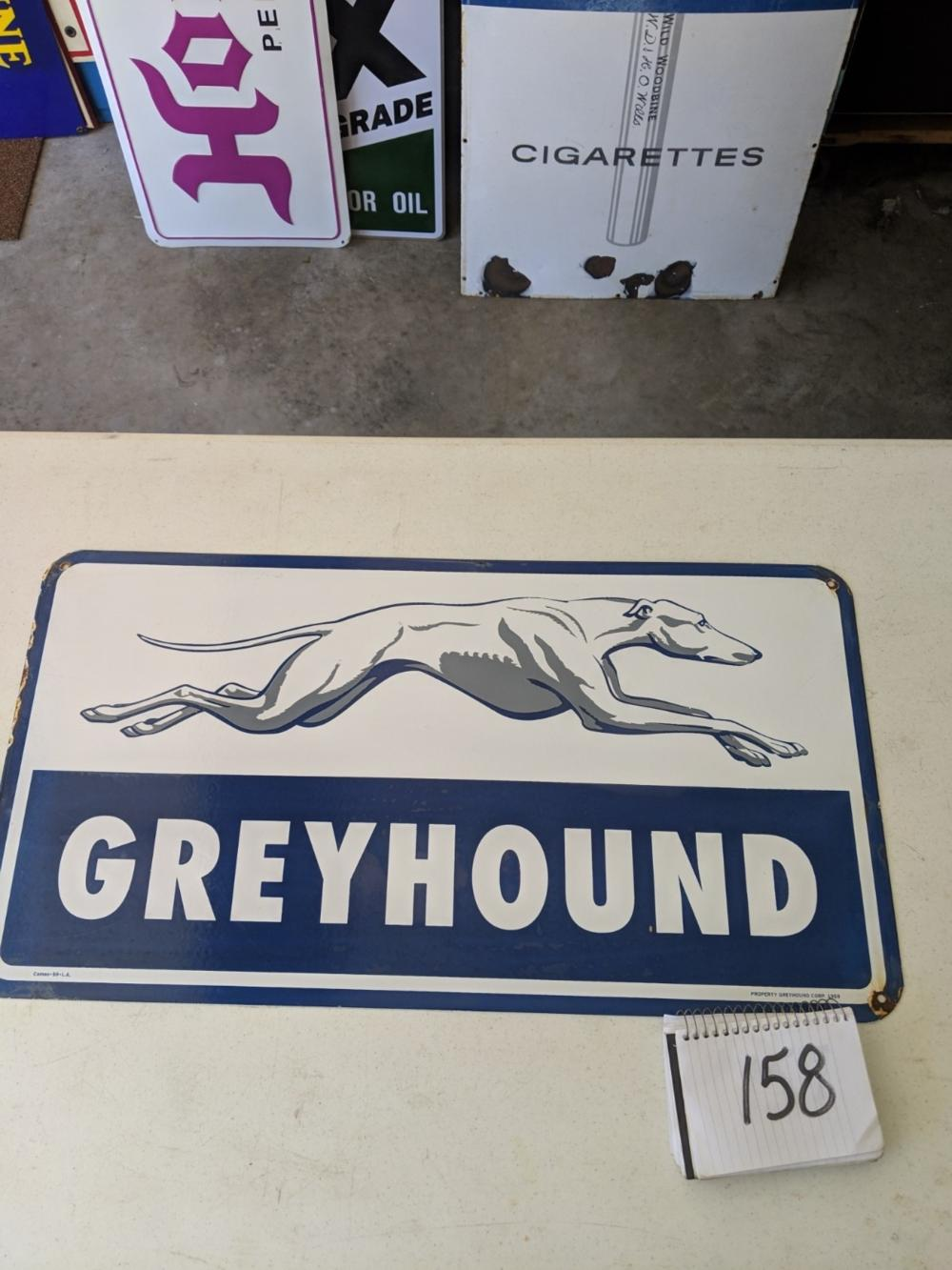 "Greyhound Double Sided Porcelain Sign 30""x16"""