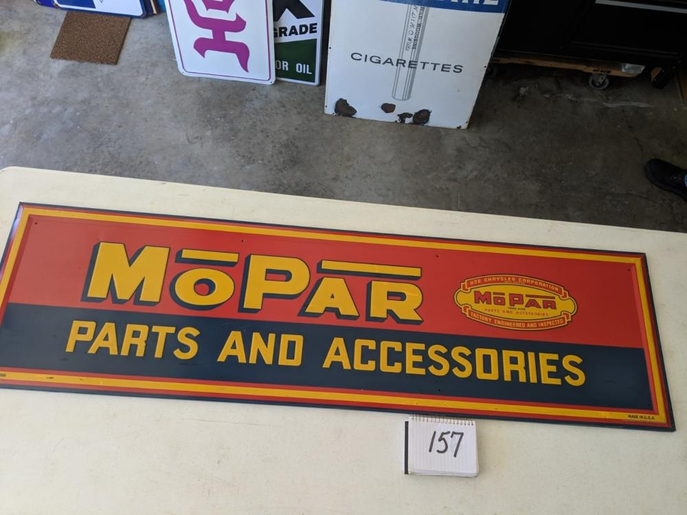 "MoPar Parts and Service Self Framed Painted Tin Single Sided 59""x17"""