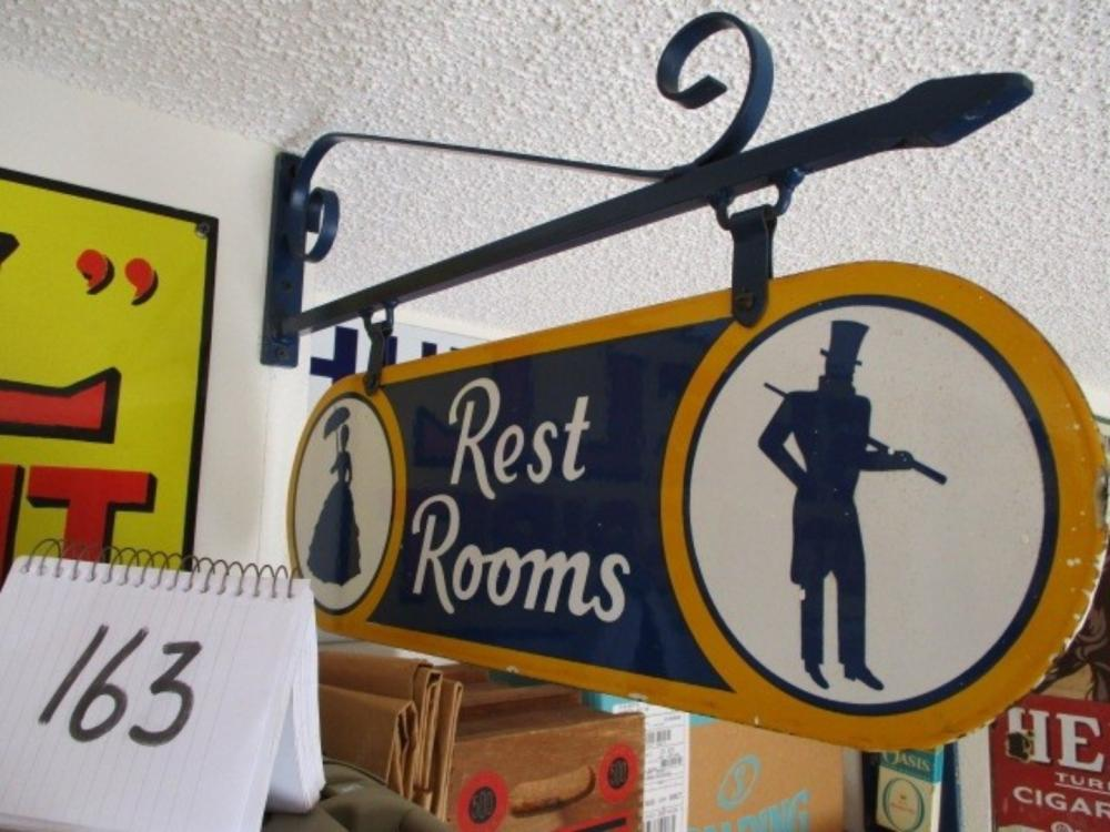 "Double Sided Sonoco Restrooms Sign 7""x21"" Original Hanging Bracket"