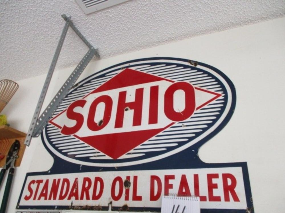 "Double Sided Sohio Standard Oil Dealer 45""x33"" Porcelain Sign"
