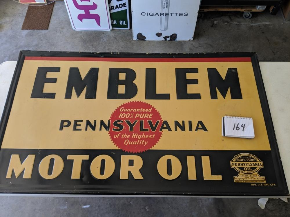 "Emblem Motor Oil 1932 Self Framed Embossed Tin Sign 56""x32"""