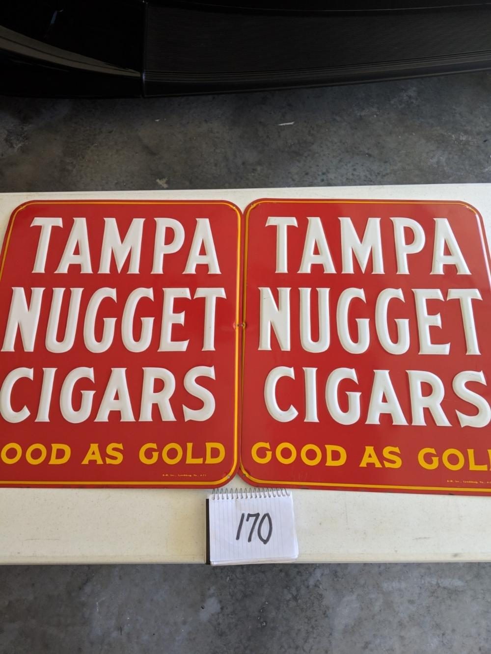 Tampa Nugget Cigars Embossed Painted (2) HBC