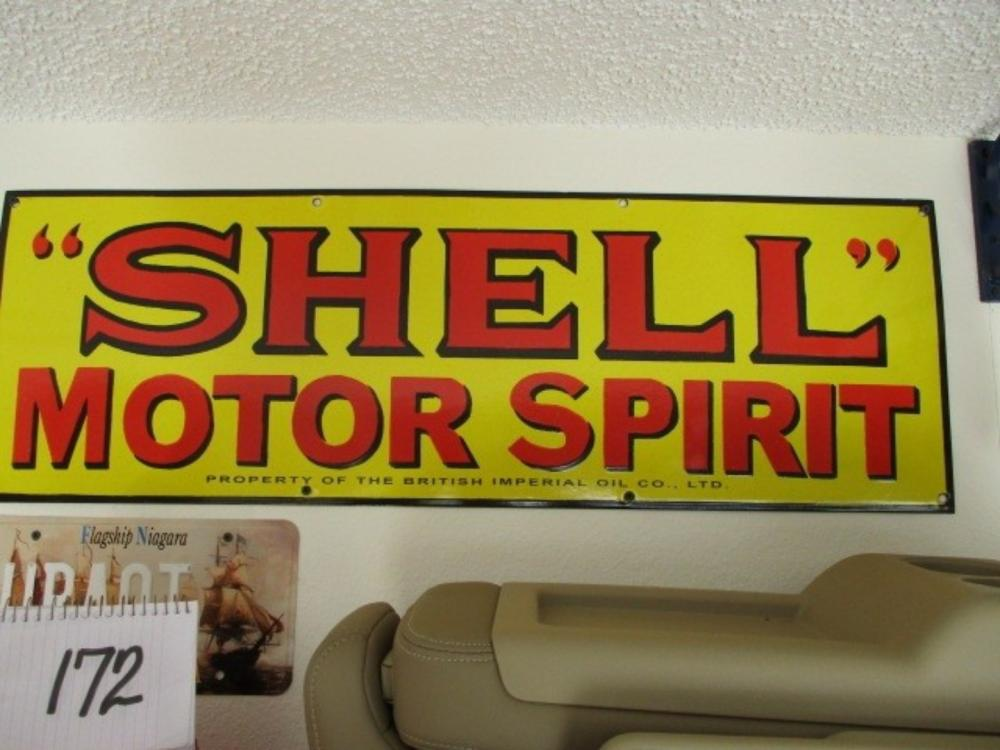 "Shell Motor Spirit 36""x12"" Porcelain Sign"