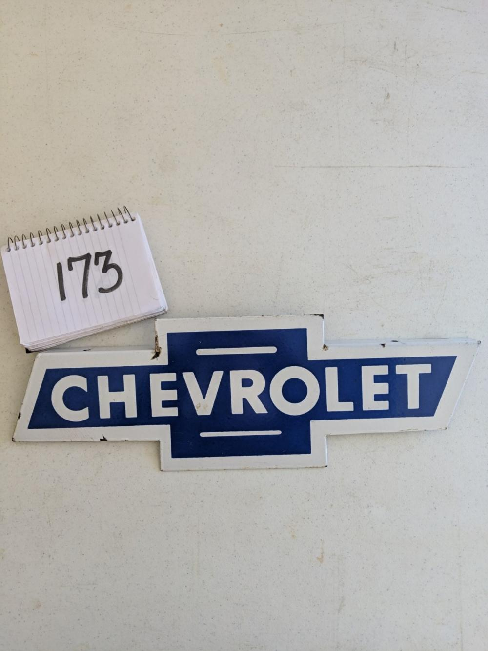 Chevrolet Porcelain Bow Tie Sign Flanged 19""