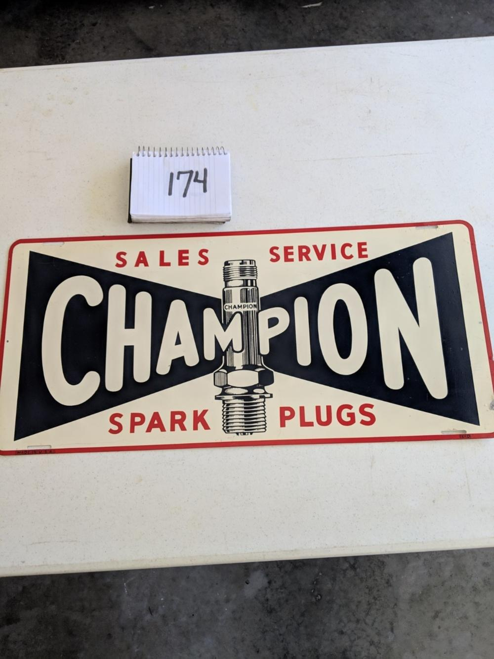 "Champion Spark Plugs Painted Single Sided Sign 27""x12"""
