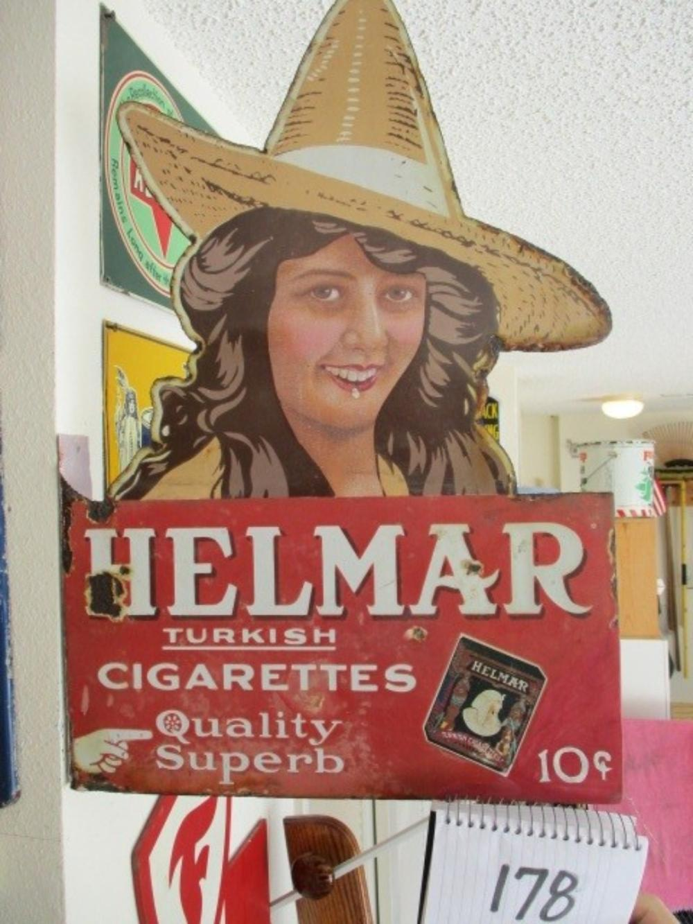 "Helmar Turkish Cigarettes Quality Superb Double Sided Diecut Porcelain Sign 23""x16"""