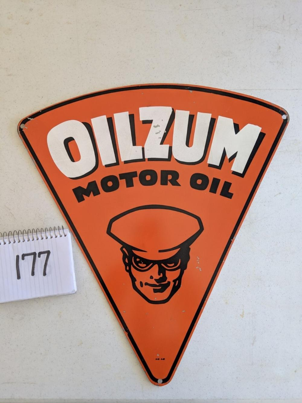 "Triangular Diecut Tin Sign Oilzum Motor Oil Single Sided 21"" Rare"