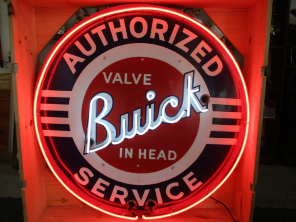"Buick Authorized Service Valve in Head Neon Porcelain Sign 42"" Diameter"