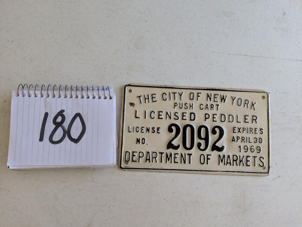 City of New York Push Cart License Plate 1969
