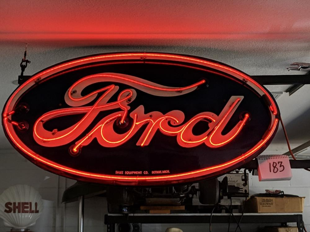 "48""x24"" Oval Ford Red Neon Porcelain Sign in Original Can"