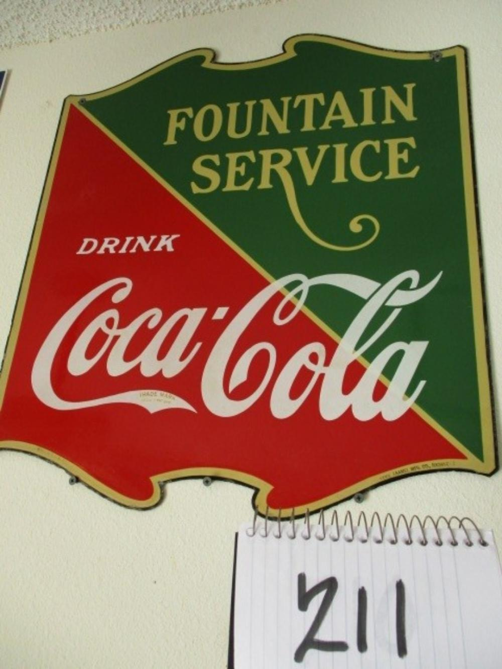 "Fountain Service Drink Coca Cola 25""x23"" Double Sided Porcelain Sign"