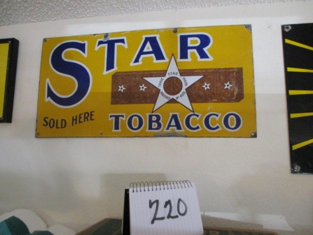 "Star Tobacco Sold Here 24""x12"" Porcelain Sign"