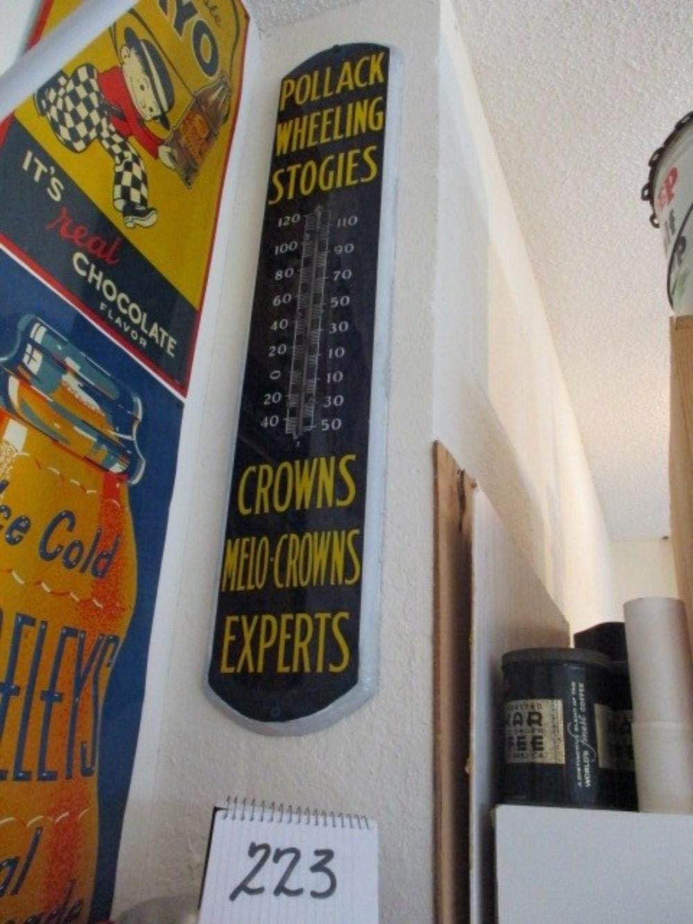 "Pollack Wheeling Stogies Crowns Melo-Crowns Experts Thermometer Porcelain Sign 38""x9"""