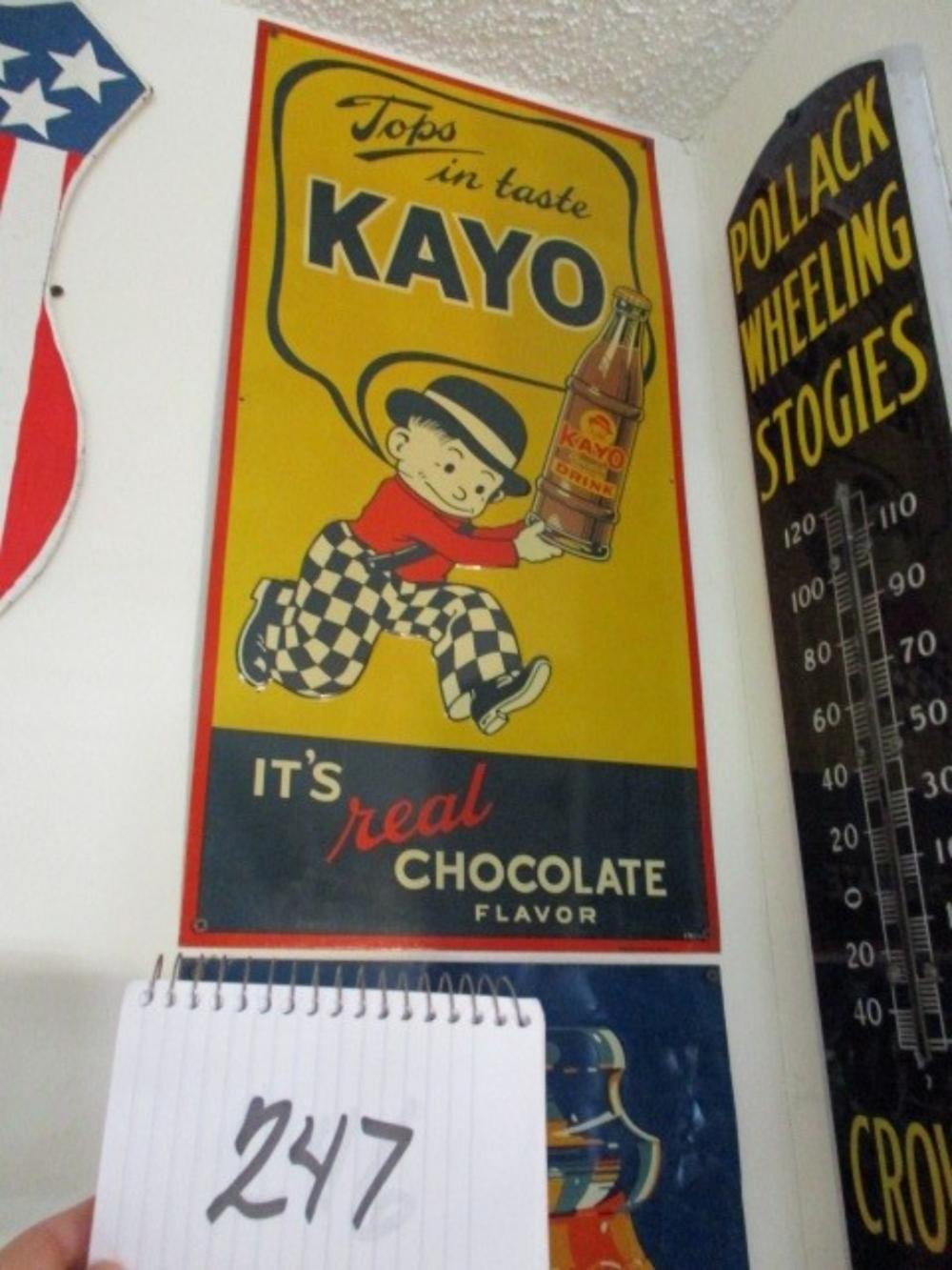 "Tops in Taste Kayo It's Real Chocolate Flavor Tin Sign 28""x14"" New Old Stock"