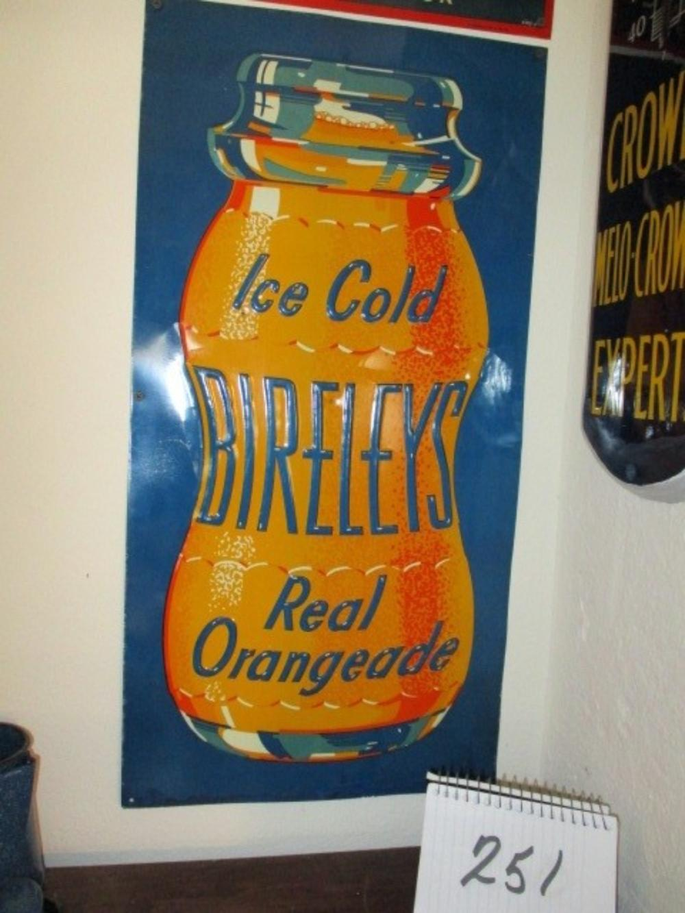 "Ice Cold Bireleys Real Orangeade Tin Sign 27""x14"" New Old Stock"