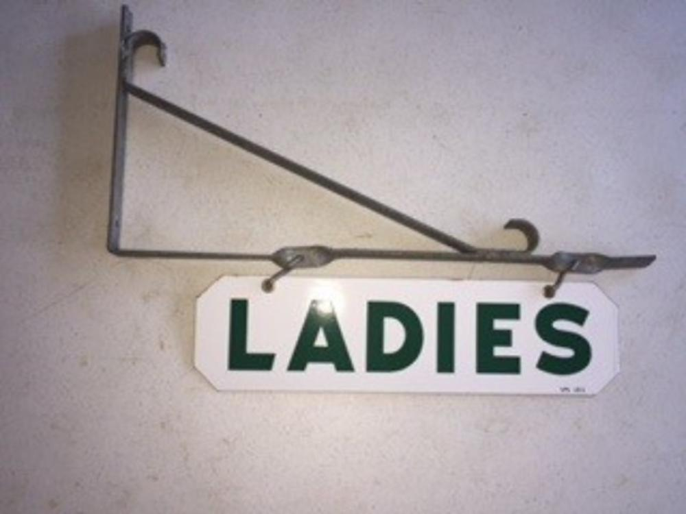 New Old Stock Ladies Hanging Bathroom Sign