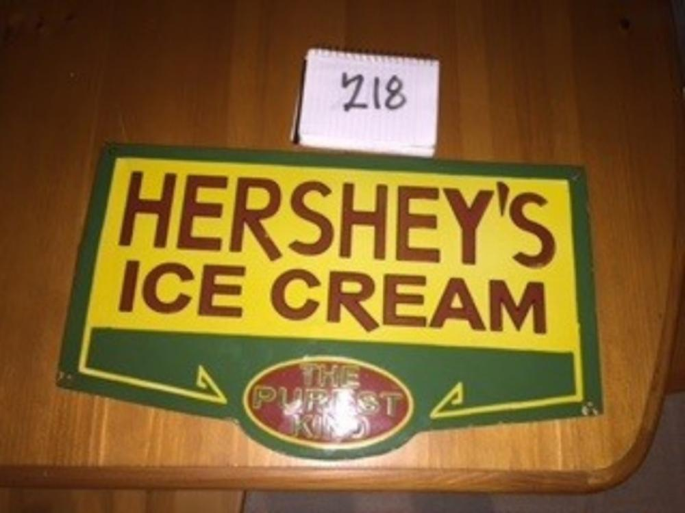 "Hershey's Ice Cream Porcelain One Sided Sign 20""x12"""