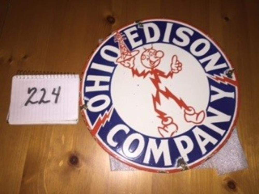 "Ohio Edison Company 14"" Porcelain Round Sign"