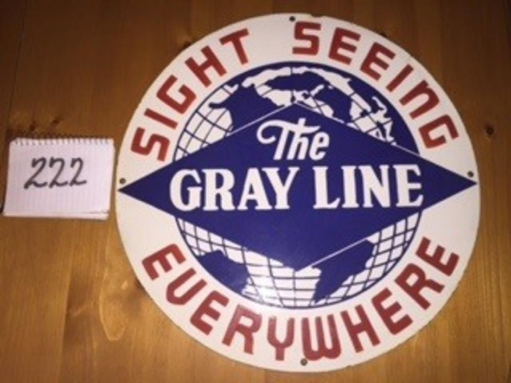 "The Gray Line Sight Seeing Everywhere Porcelain 20"" Sign Round"