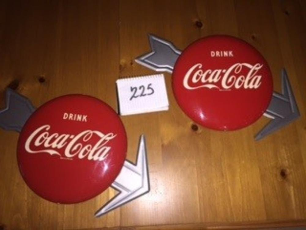 "1952 12"" Buttons w/ Arrow Coca Cola Sign New Old Stock (2) HBC"
