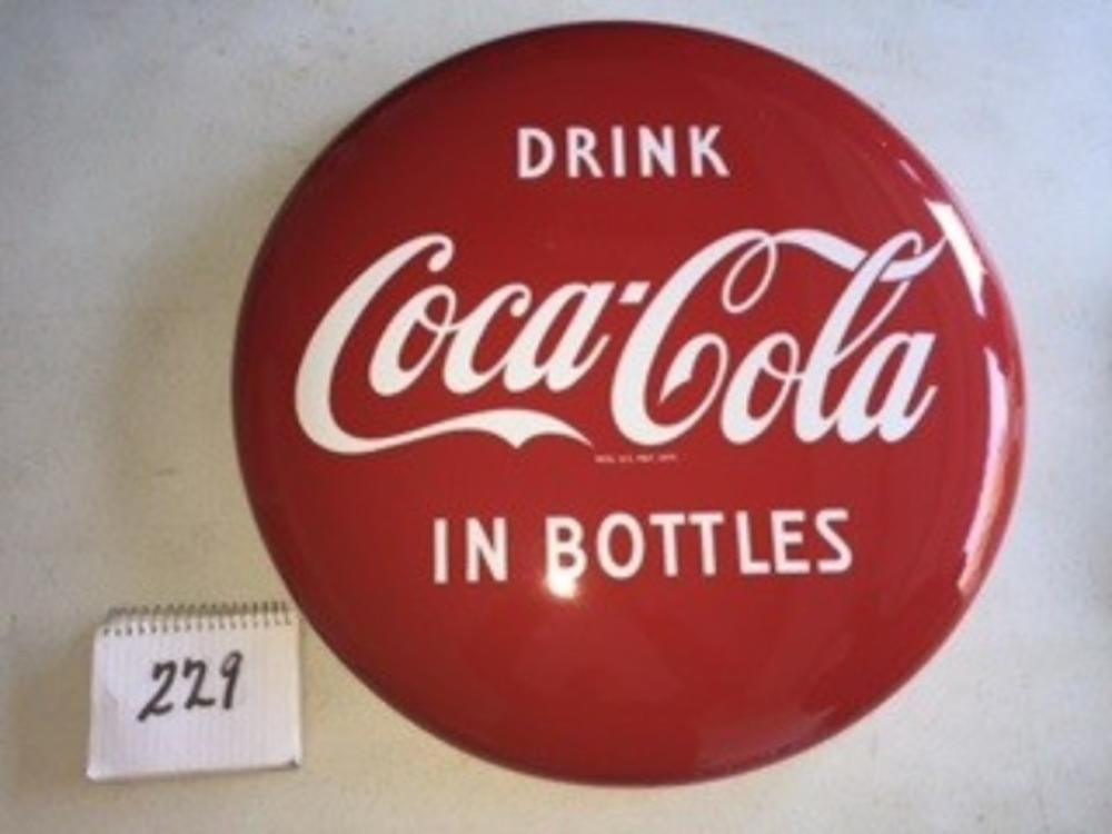 "24"" Porcelain Drink Coca Cola in Bottle Button"