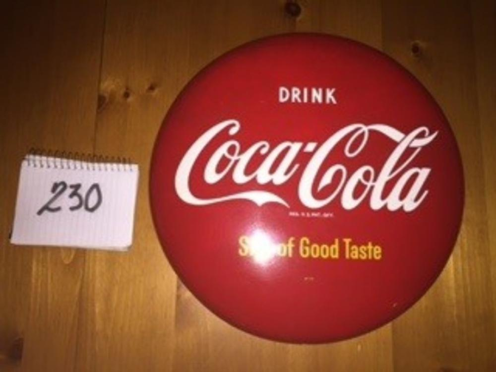 "16"" Drink Coca Cola Sign of Good Taste Button"