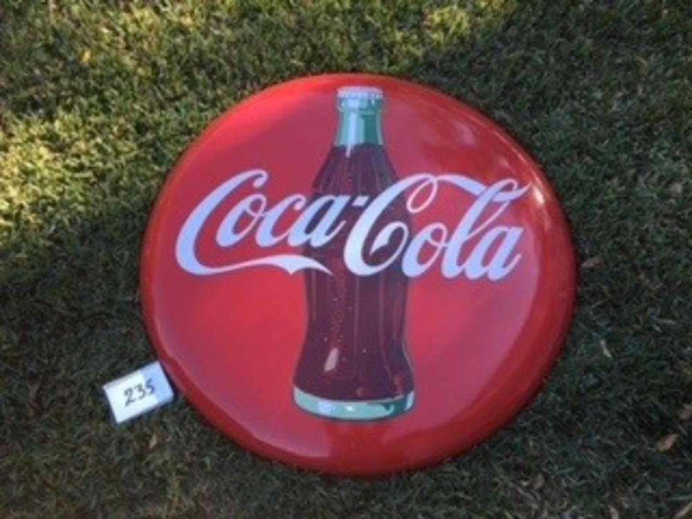 "48"" Porcelain Coca Cola w/ Bottle Button"