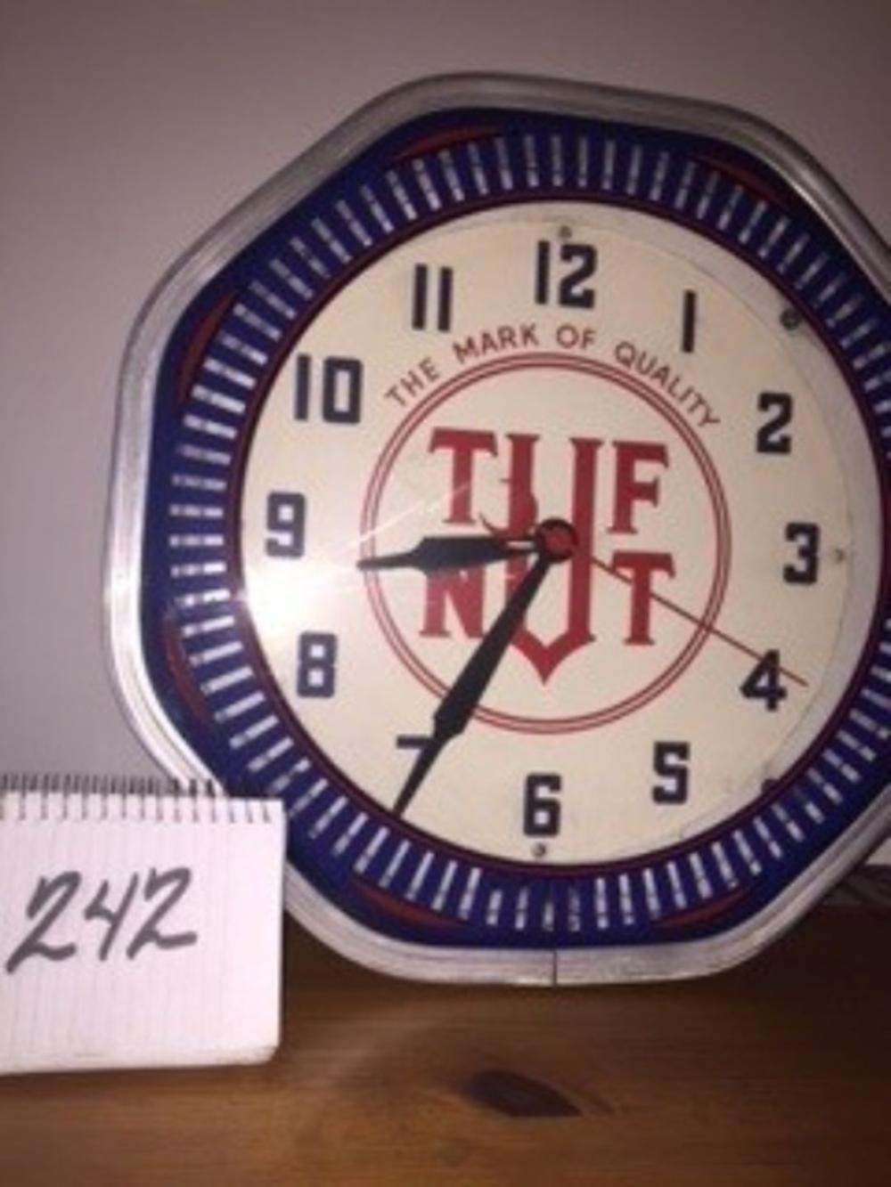 Octagon Neon Clock Tuf Nut 19""