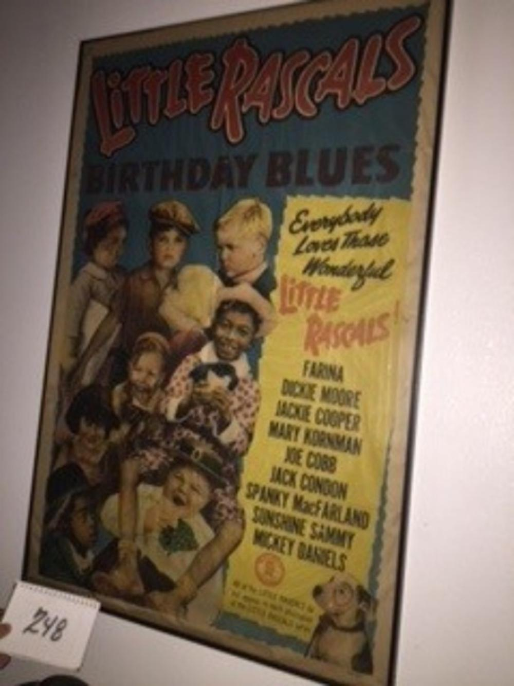 "1932 Little Rascals Movie Theater Poster ""Birthday Blues"" Framed 41""x28"""