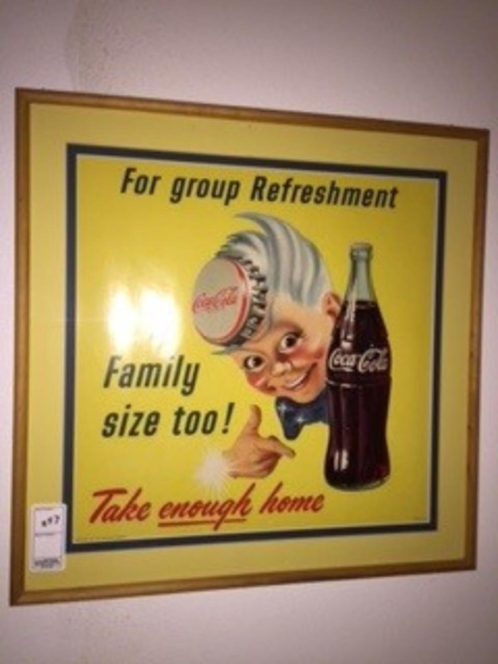 "1955 For Group Refreshment Family Size Too! Sprite Boy Sign 23""x23"""