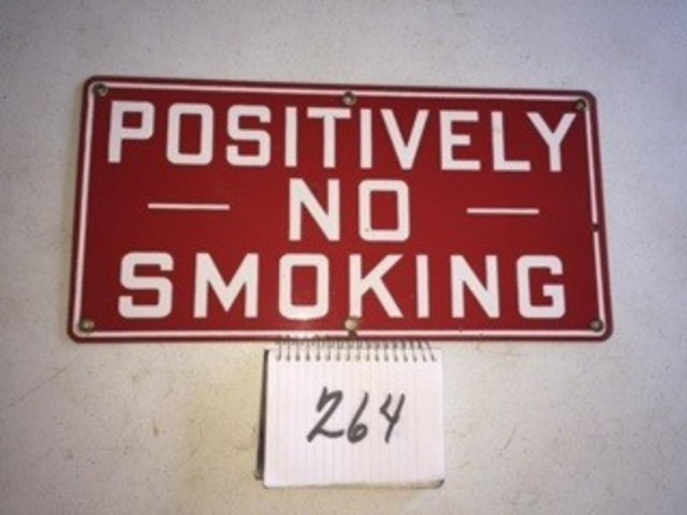"Positively No Smoking Porcelain Sign 18""x9"""