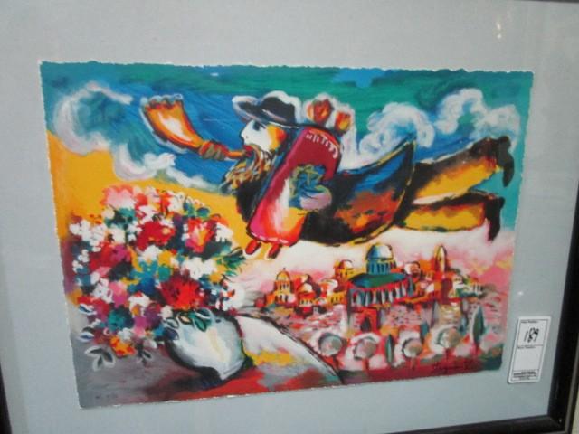 """Framed Matted """"Fly Over Jerusalem"""" Lithograph Zamy Steynovitz Pencil Signed"""