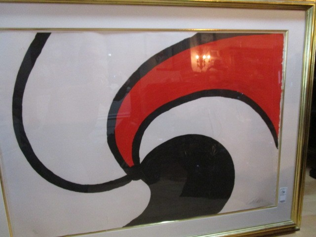 """Calder Pencil Signed Numbered Lithograph 77 of 100 43""""x40"""" Framed Matted"""