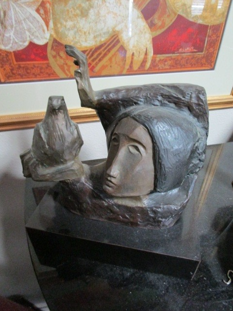 "Alvar Sculpture Cast 160 of 175 ""Girl with Dove"" La Paloma"
