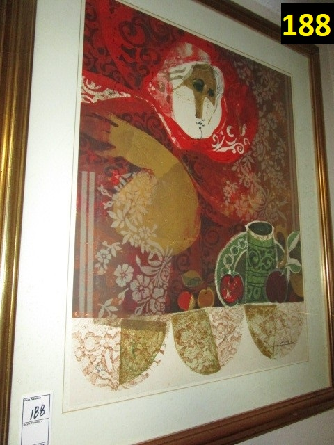 """Alvar Pencil Signed Lithograph 25""""x19"""" 8 of 260 Framed Matted"""