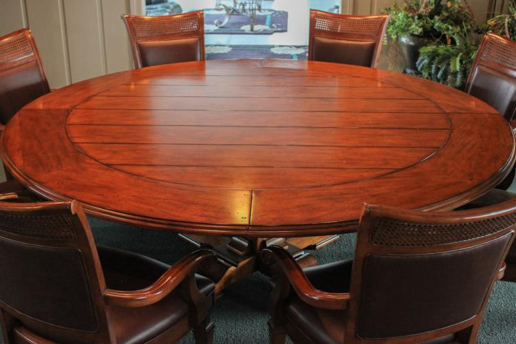 Stanley Round Pedestal Expandable Dining Table with 8 ...