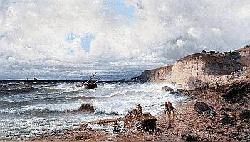 EUGENIO AMUS (Italian 1834-1899), Coastal Scene