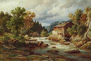 EDUARD PAPE (German 1817-1905), Millstream with