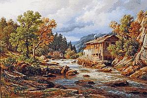 EDUARD FRIEDRICH PAPE (1817-1905), Millstream with