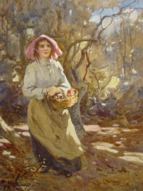 ALBERT GEORGE STEVENS (1863-1925), Orchard Girl,