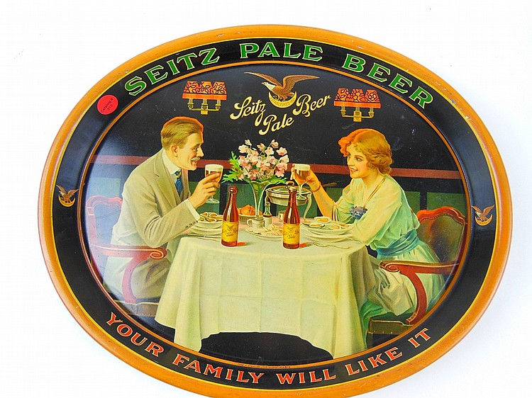 "212. EARLY EXCELLENT SEITZ PALE BEER ADVERTISING TRAY ""YOUR FAMILY WILL LIKE IT"" CHAS W. SHONK CO. CHICAGO NO. M573"