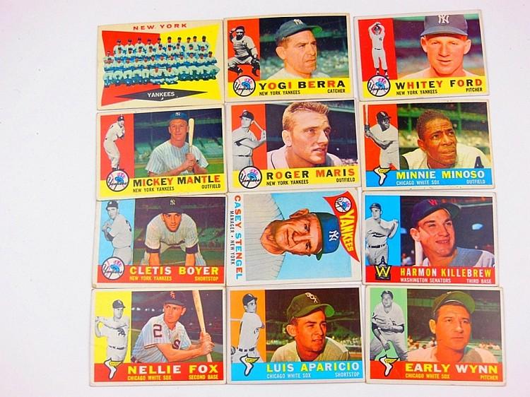 68. LOT OF 1950'S TOPPS BASEBALL CARDS (12) #350 MICKEY MANTLE, #377 ROGER MARIS, #365 MINNIE MINOSO, #109 CLETIS BOYER, #210 HARMON KILLEBREW, #227 CASEY STENGEL, #100 NELLIE FOX, #240 LUIS APARICIO, #1 EARLY WYNN, #332, #480 YOGI BERRA, & #35