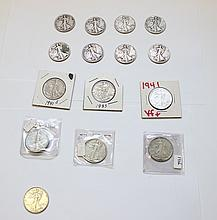 (15) WALKING LIBERTY HALVES