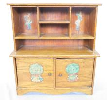 Child's Wooden Doll Cabinet