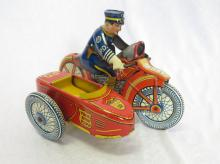 Marx Toys Tin Litho Wind Up Police Department Motorcycle with Side Car