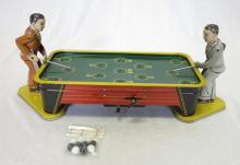 Vintage Tin Litho Wind Up Billiards Game Toy