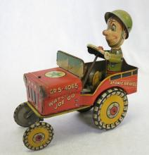 GI Joe and His Jouncing Jeep Wind Up Tin Litho Toy. Unique Art Mfg Co. 4-11-44