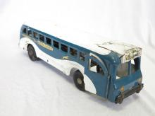 1940's Buddy L Greyhound Lines Bus Pressed Steel Wind Up Toy. 16