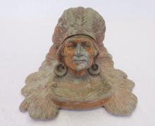 Vintage 1900's Cast Aluminum Indian Chief Ink Well
