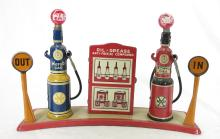 Marx Tin Litho Toy Roadside Gas Pumps. 5.75